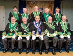 Bro. Les Duff R.W.M. is pictured with R.W.P.G.M. Bro. Brian Kerley and the other P.G.L.M. Office Bearers